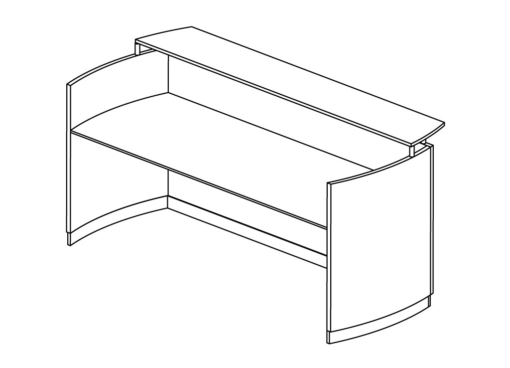 Modern reception desk from Mayline - 3D schematic