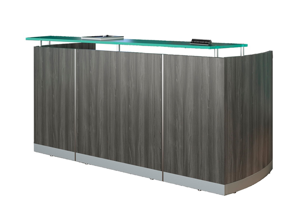 Modern reception desk from Mayline - Shown in Gray Steel woodgrain