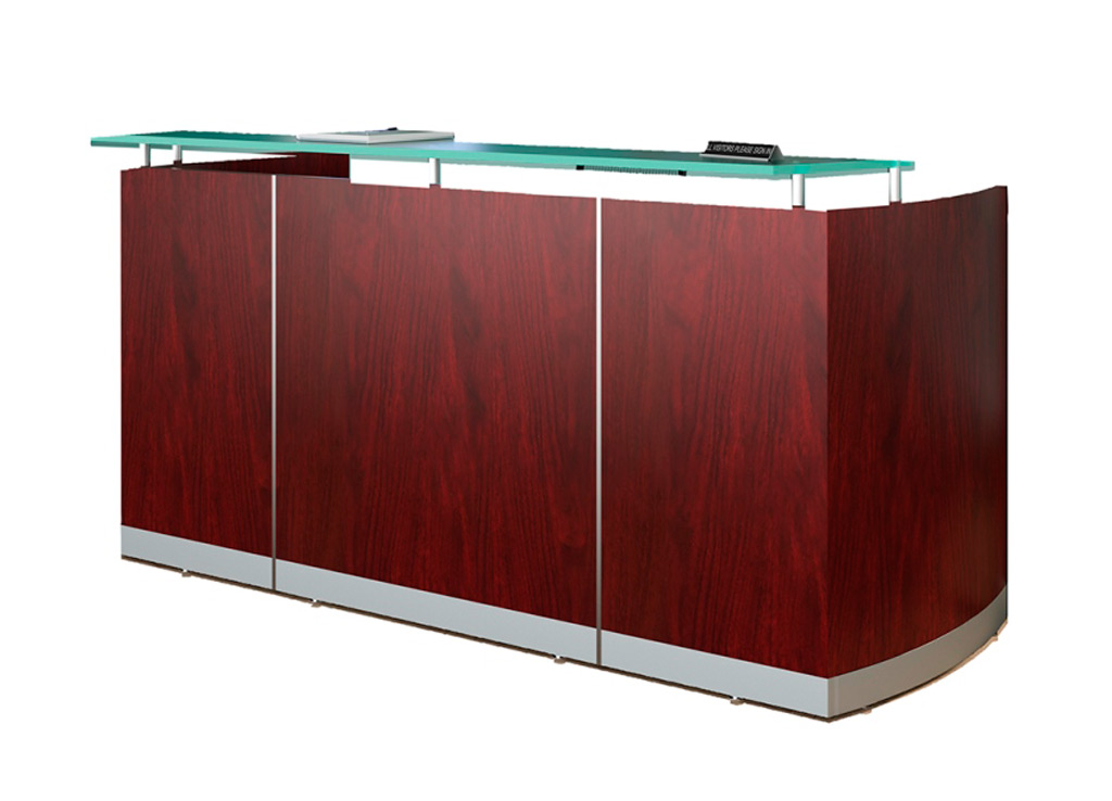 Modern reception desk from Mayline - Shown in Mahogany woodgrain