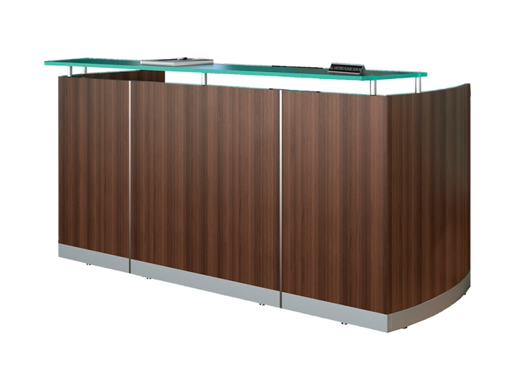 Modern reception desk from Mayline - Shown in Textured Brown Sugar woodgrain