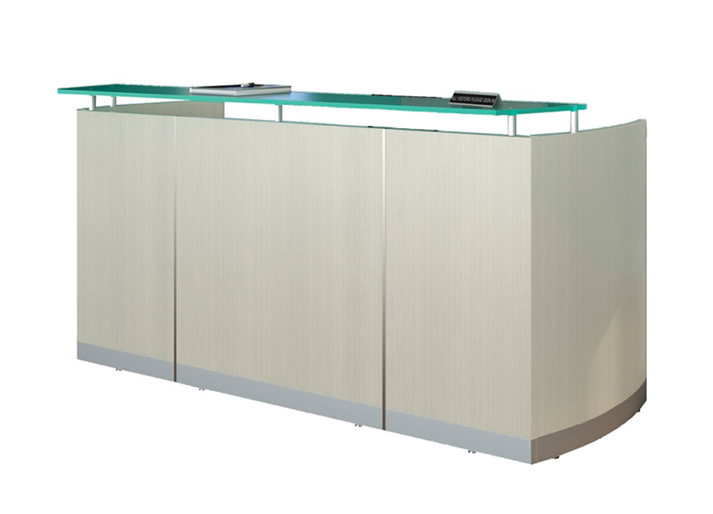 Modern reception desk from Mayline - Shown in Textured Sea Salt (white woodgrain)