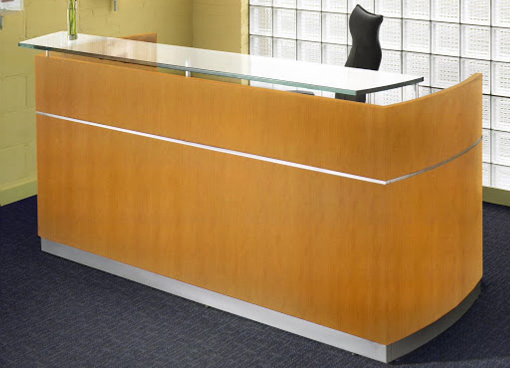 Wood reception area furniture from Mayline - Exterior View - Shown in Golden Cherry wood