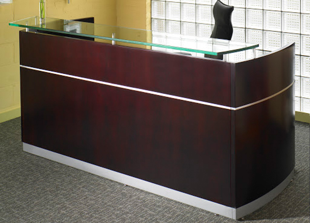 Wood reception area furniture from Mayline - Exterior View - Shown in Mahogany wood