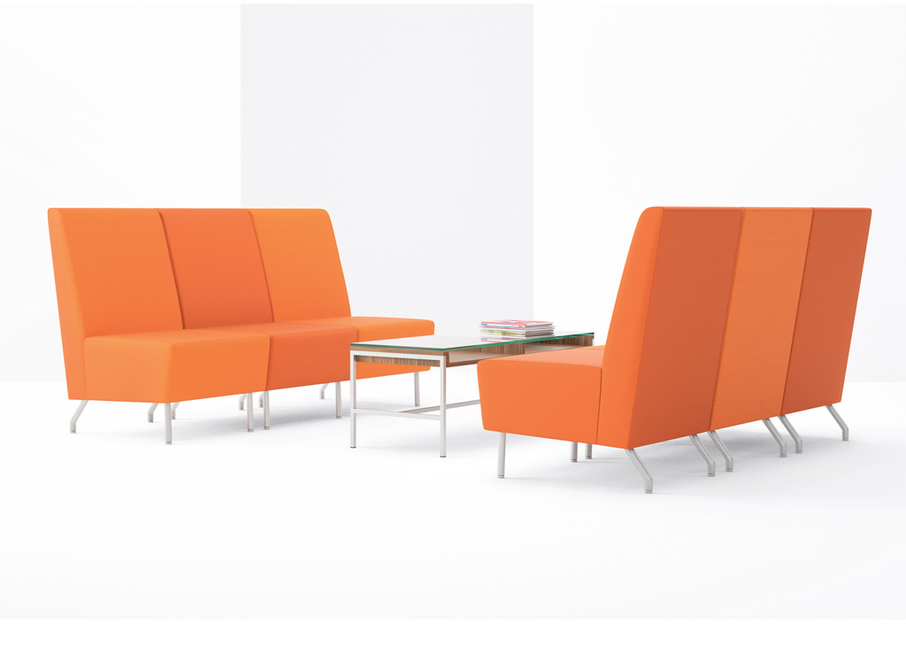 Office reception chairs from Arcadia - Design your lounge area with stylish reception seating and tables from the complete Intima Collection.