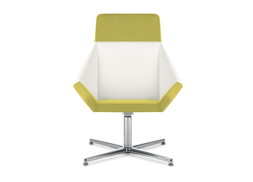 Office reception chairs from Arcadia - Shown here with high-back and swivel base options. 4-prong swivel pedestal base manufactured in aluminum with auto-return feature as standard.