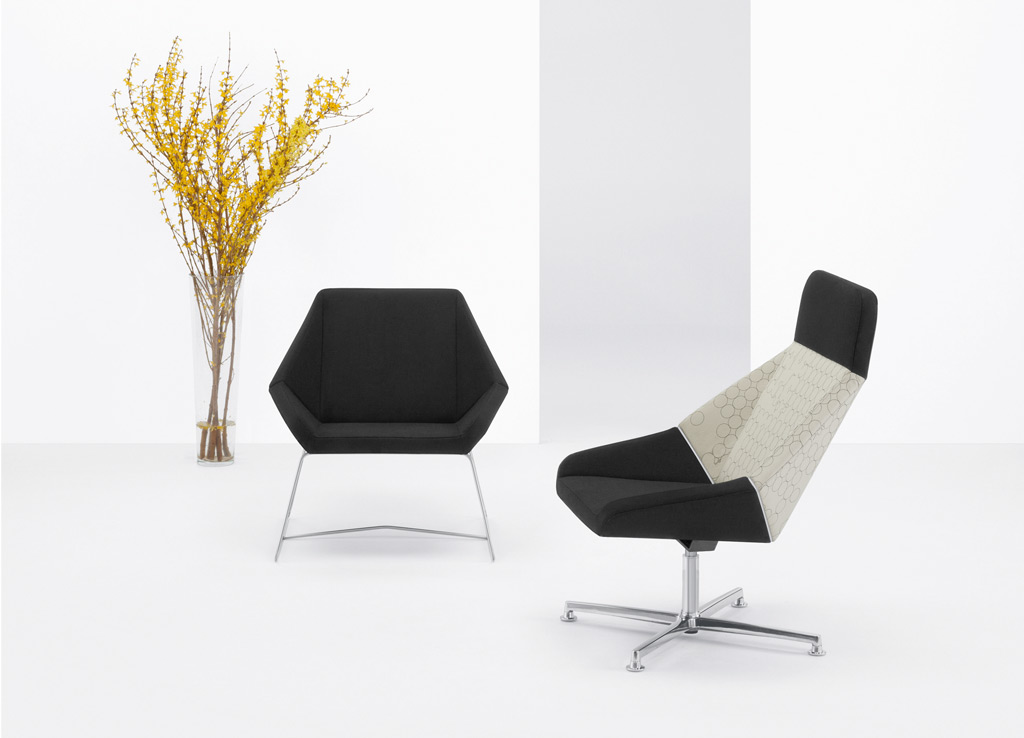 Office reception chairs from Arcadia - The Nios Collection offers an array of matching lounge and guest seating options.