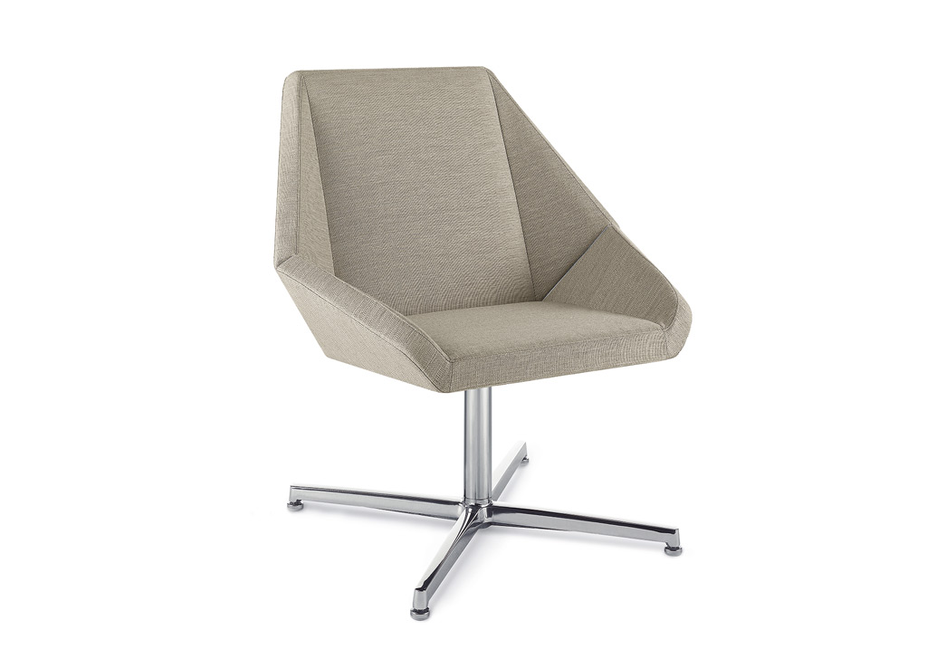 Office reception chairs from Arcadia - Shown here with mid-back and swivel base options. 4-prong swivel pedestal base manufactured in aluminum with auto-return feature as standard.
