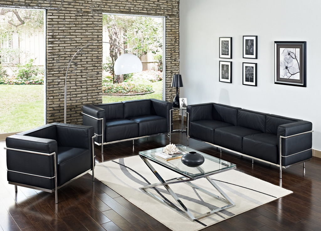 Office reception chairs from Modway - Full Collection includes lounge chair, two seat sofa and three seat couch - Shown in Black leather