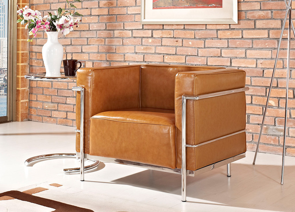 Office reception chairs from Modway - Shown in Tan (Brown) leather