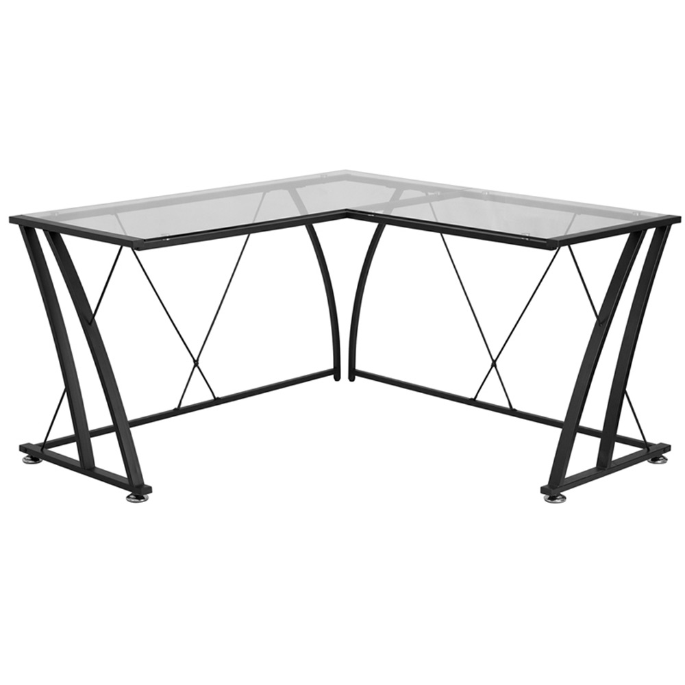 Glass Top Computer Desk Fleta For Small Spaces