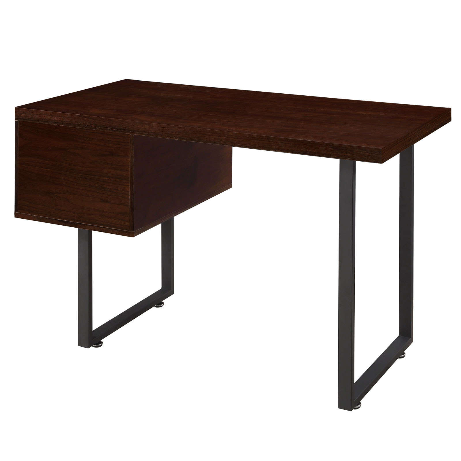 space saving desk from modway back view shown in walnut brown