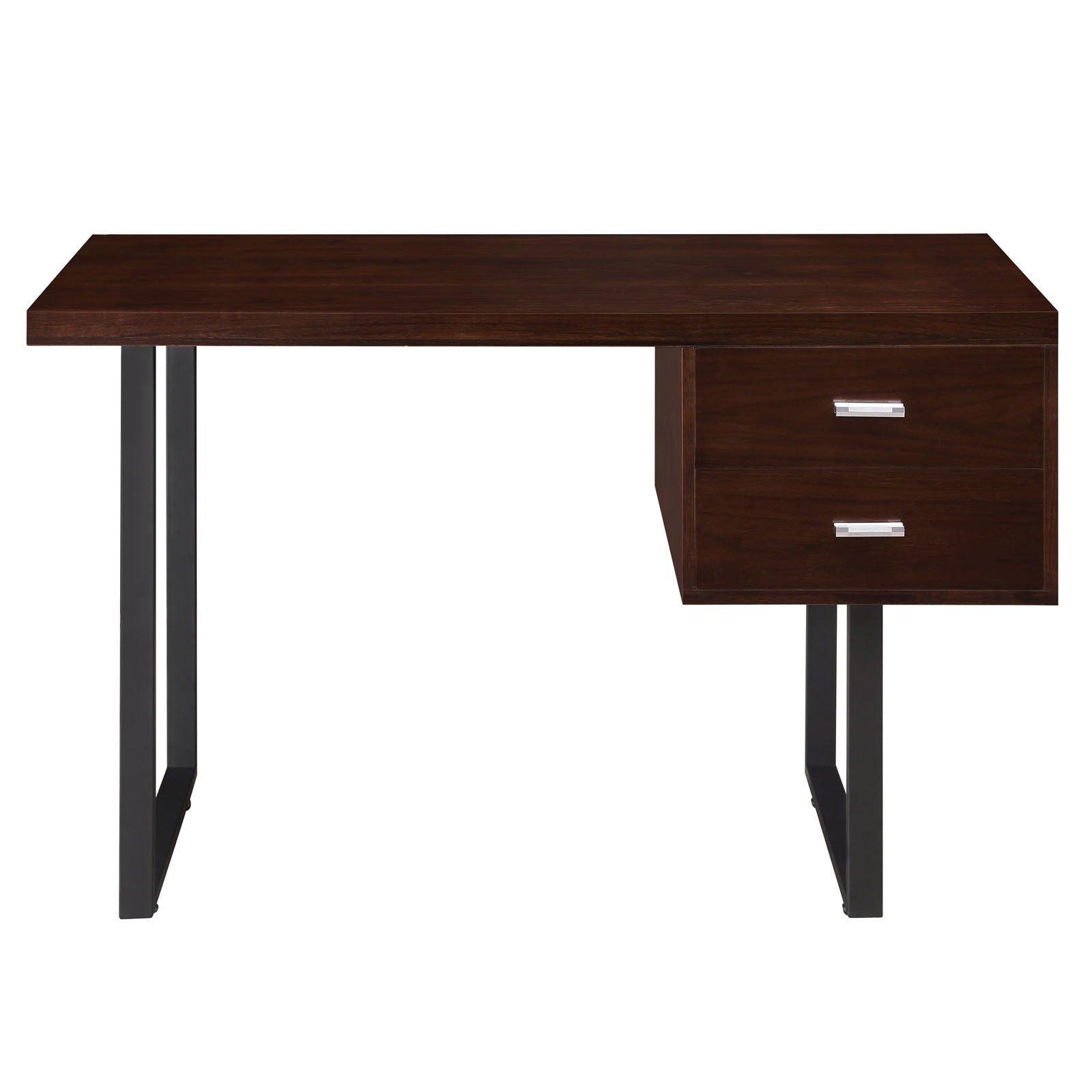 space saving desk from modway front view shown in walnut brown