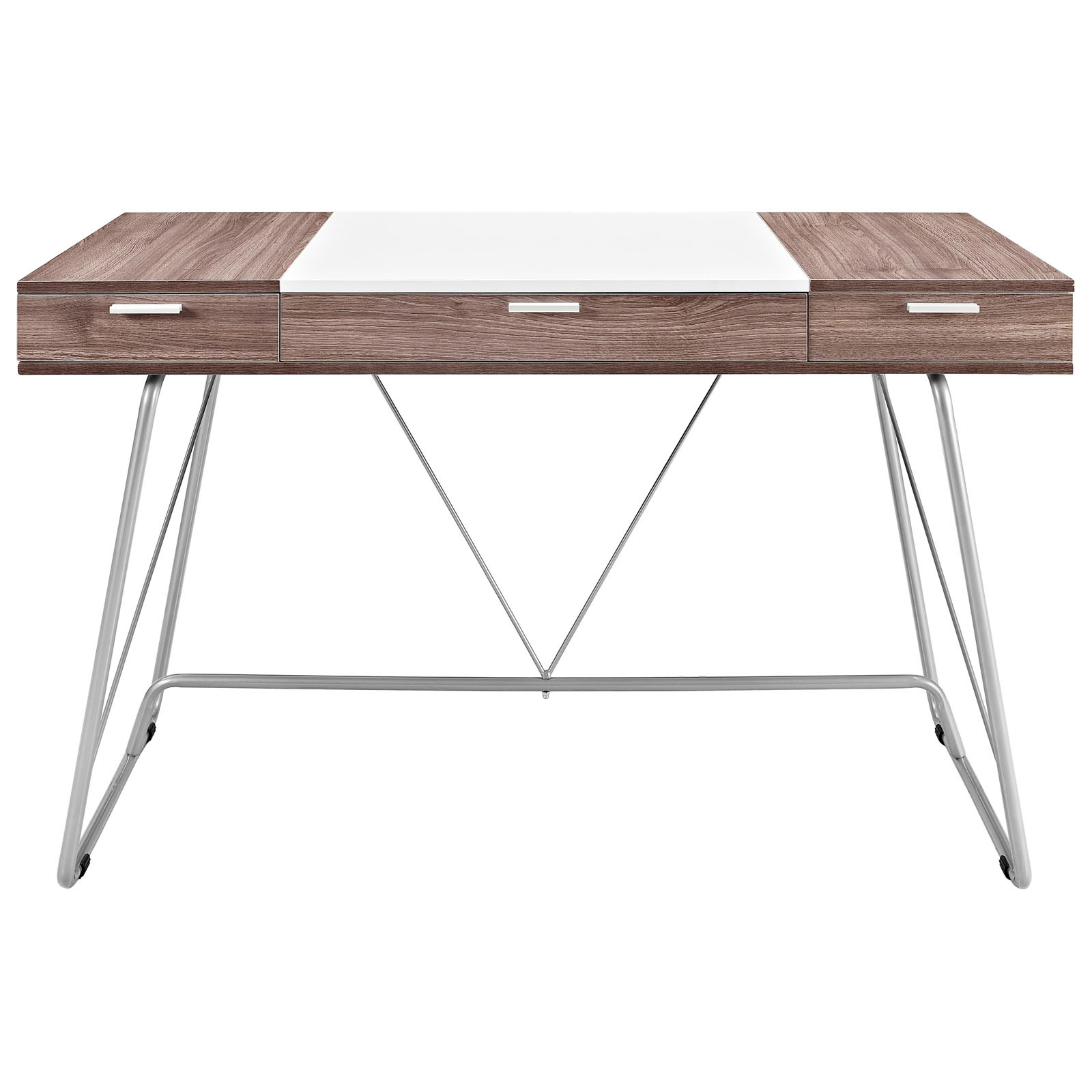 space saving desk from modway front view shown in birch brown