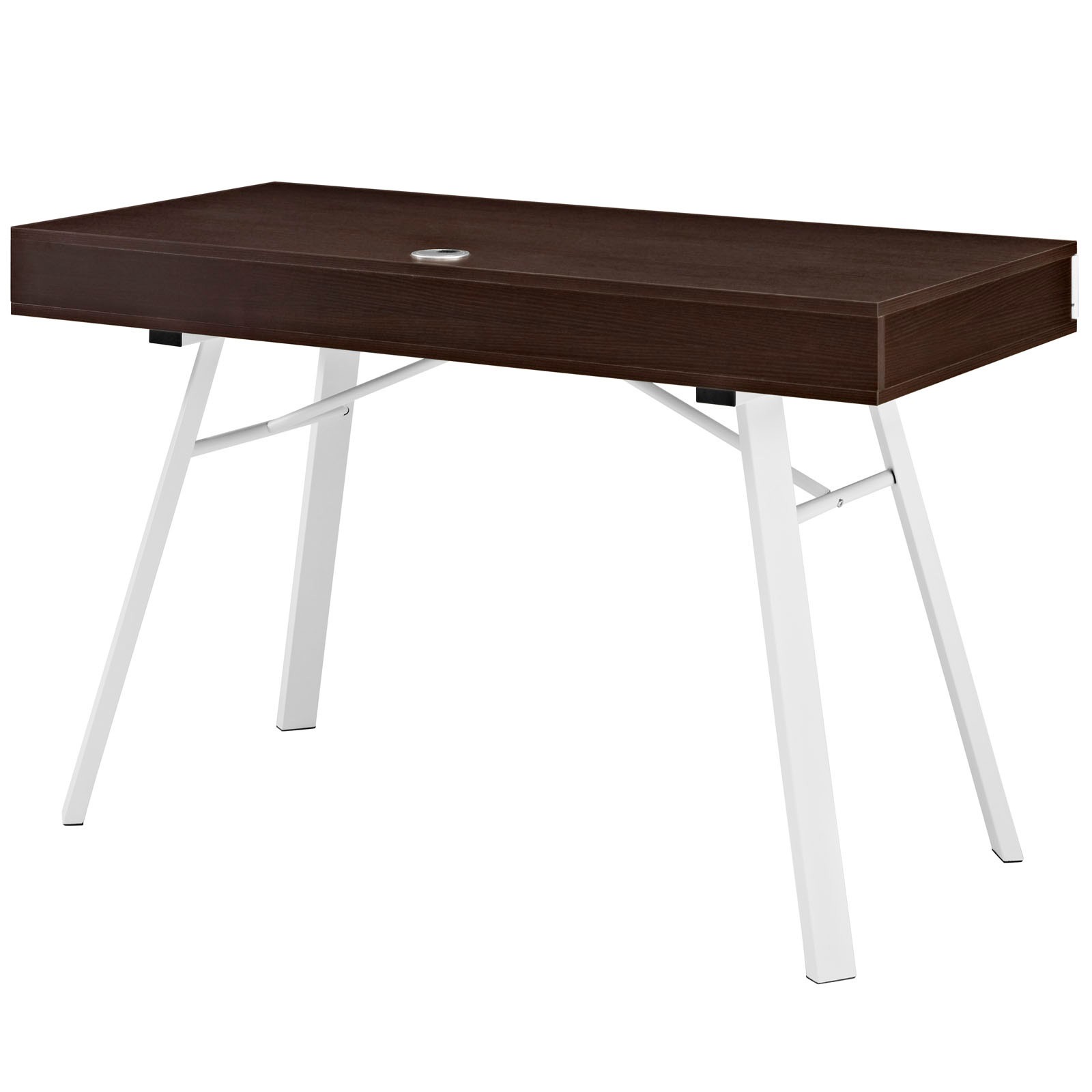 space saving desk from modway back view shown in cherry brown - Space Saving Desk