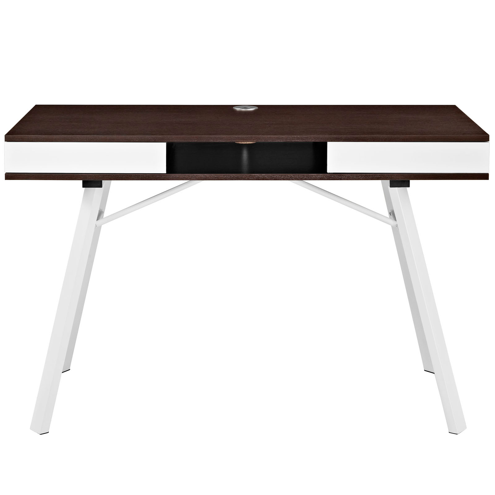 space saving desk from modway front view shown in cherry brown