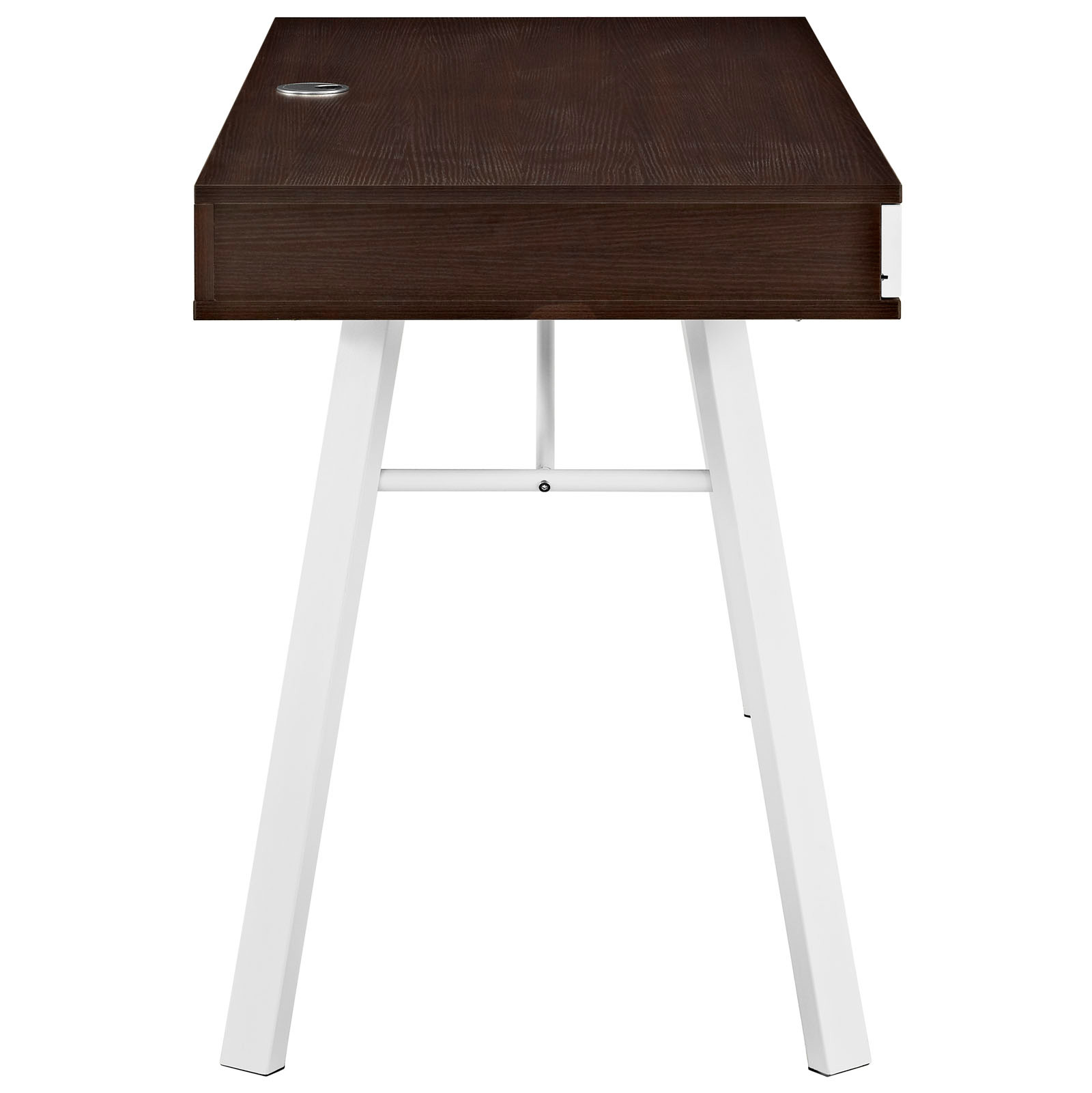 space saving desk from modway side view shown in cherry brown