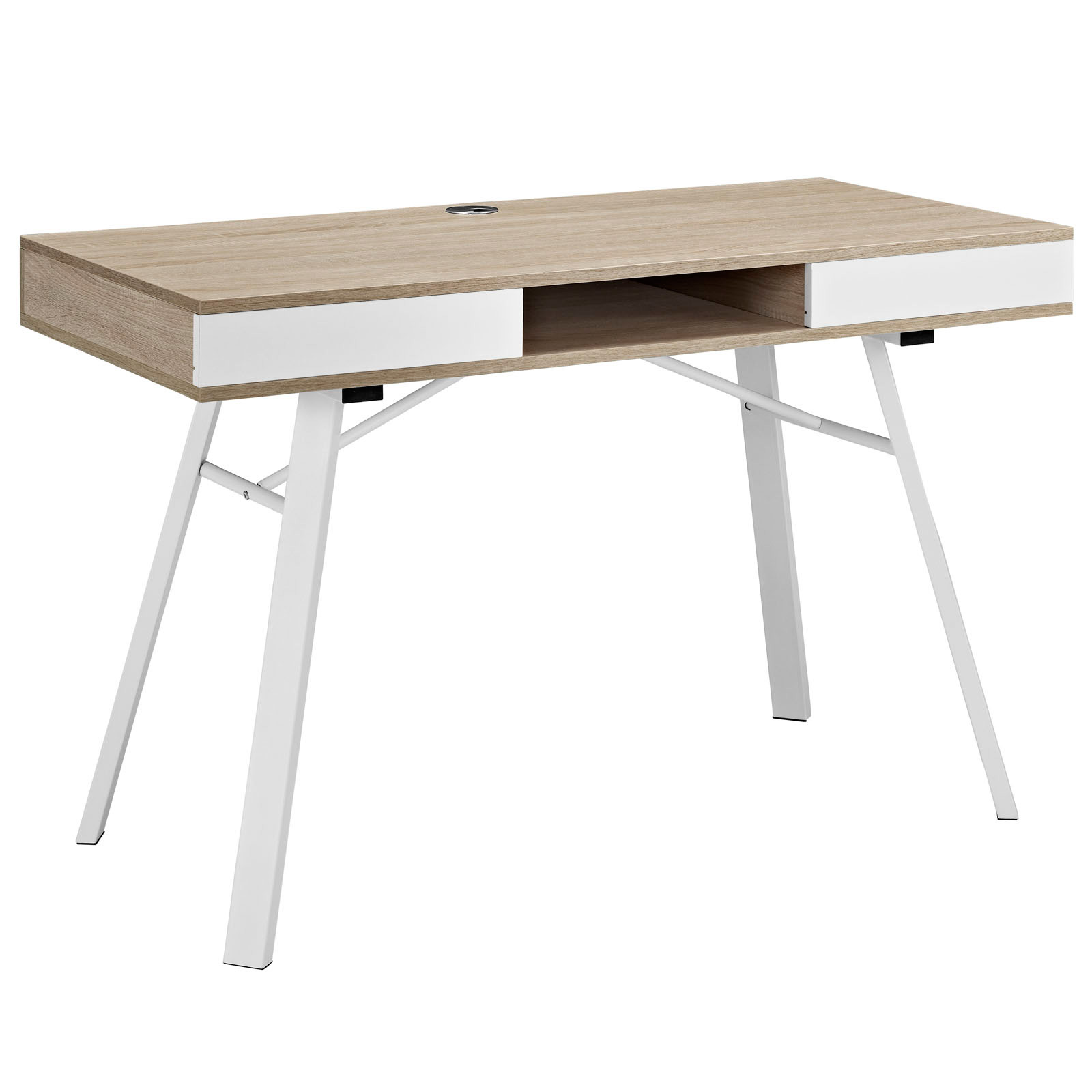 space saving desk from modway shown in oak beige - Space Saving Desk
