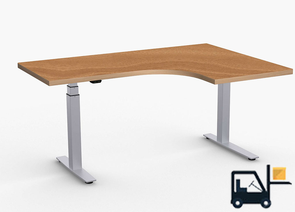 L Shaped Height Adjustable Table - ValuLift Sit Stand Desks
