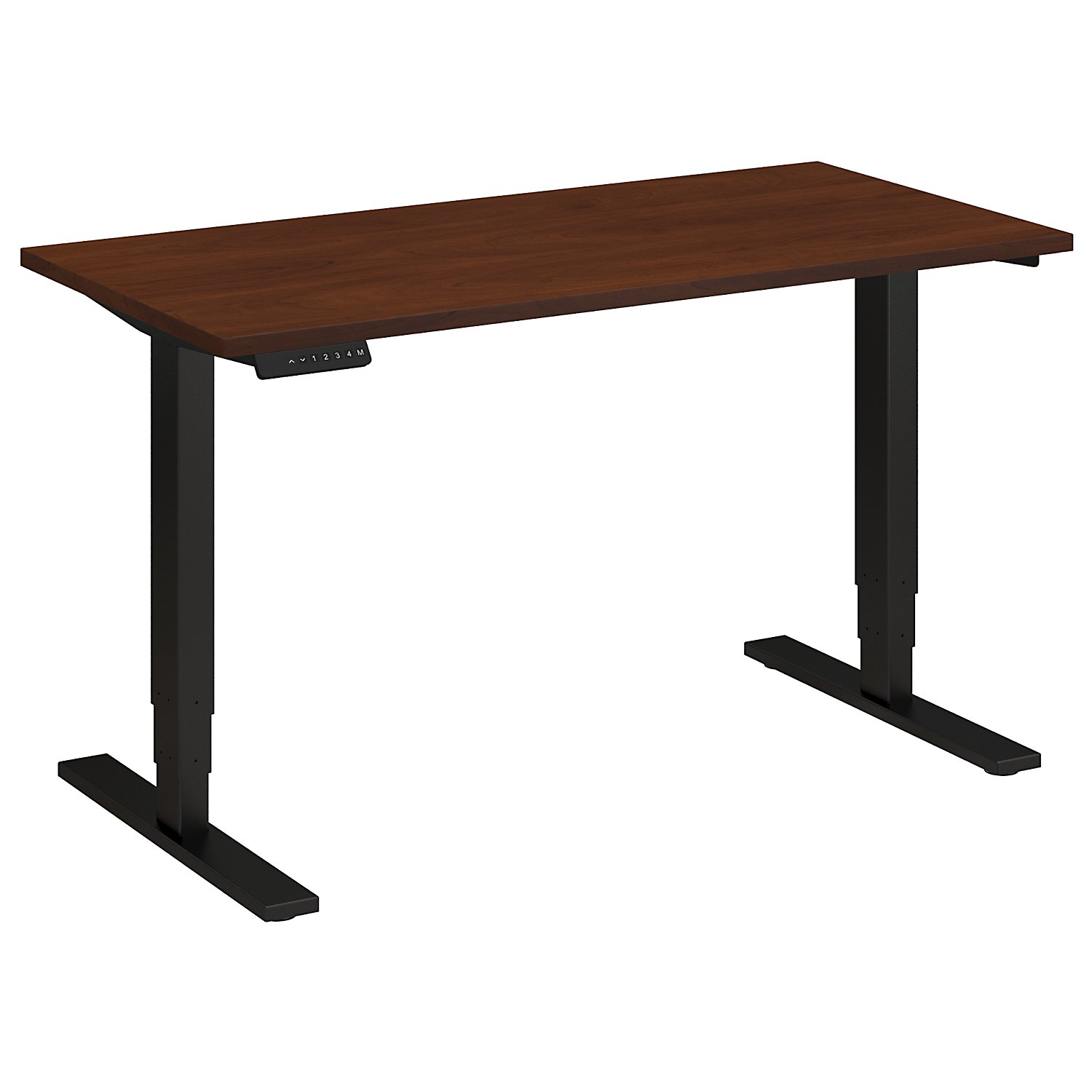 Adjustable Height Desks from BBF - Shown in Hansen Cherry woodgrain laminate top and black base