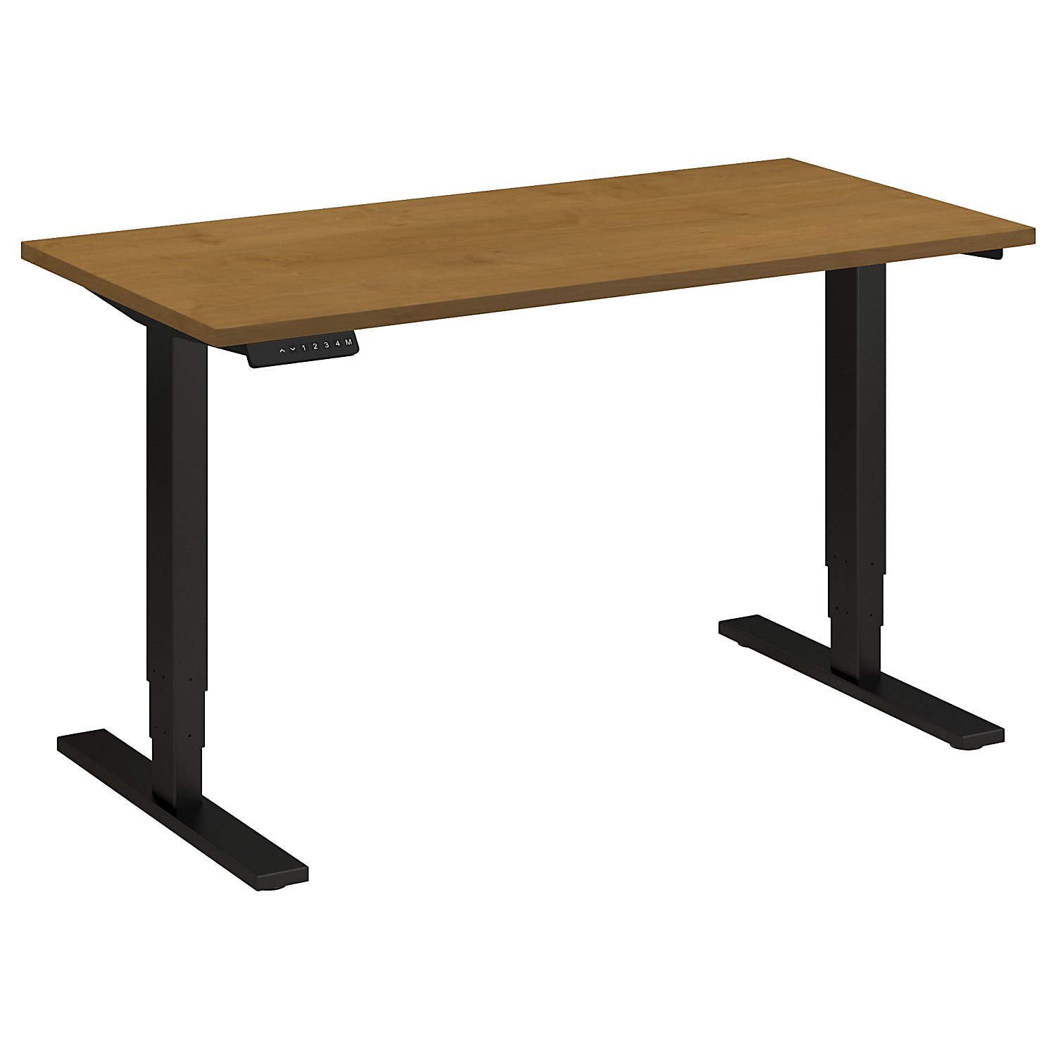 Adjustable Height Desks from BBF - Shown in Natural Cherry woodgrain laminate top and black base