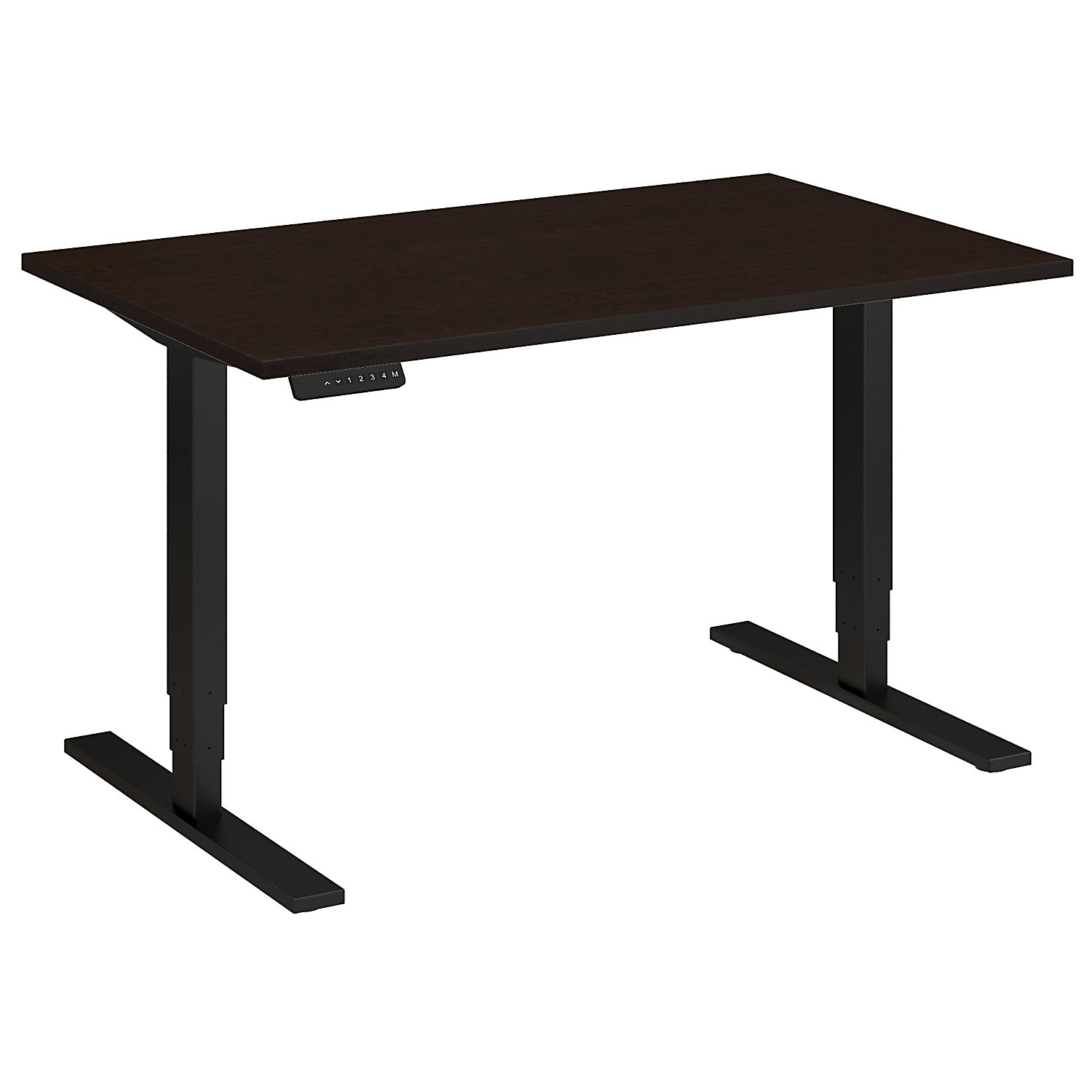 Adjustable Height Desks from BBF - Shown in Mocha Cherry woodgrain laminate top and black base