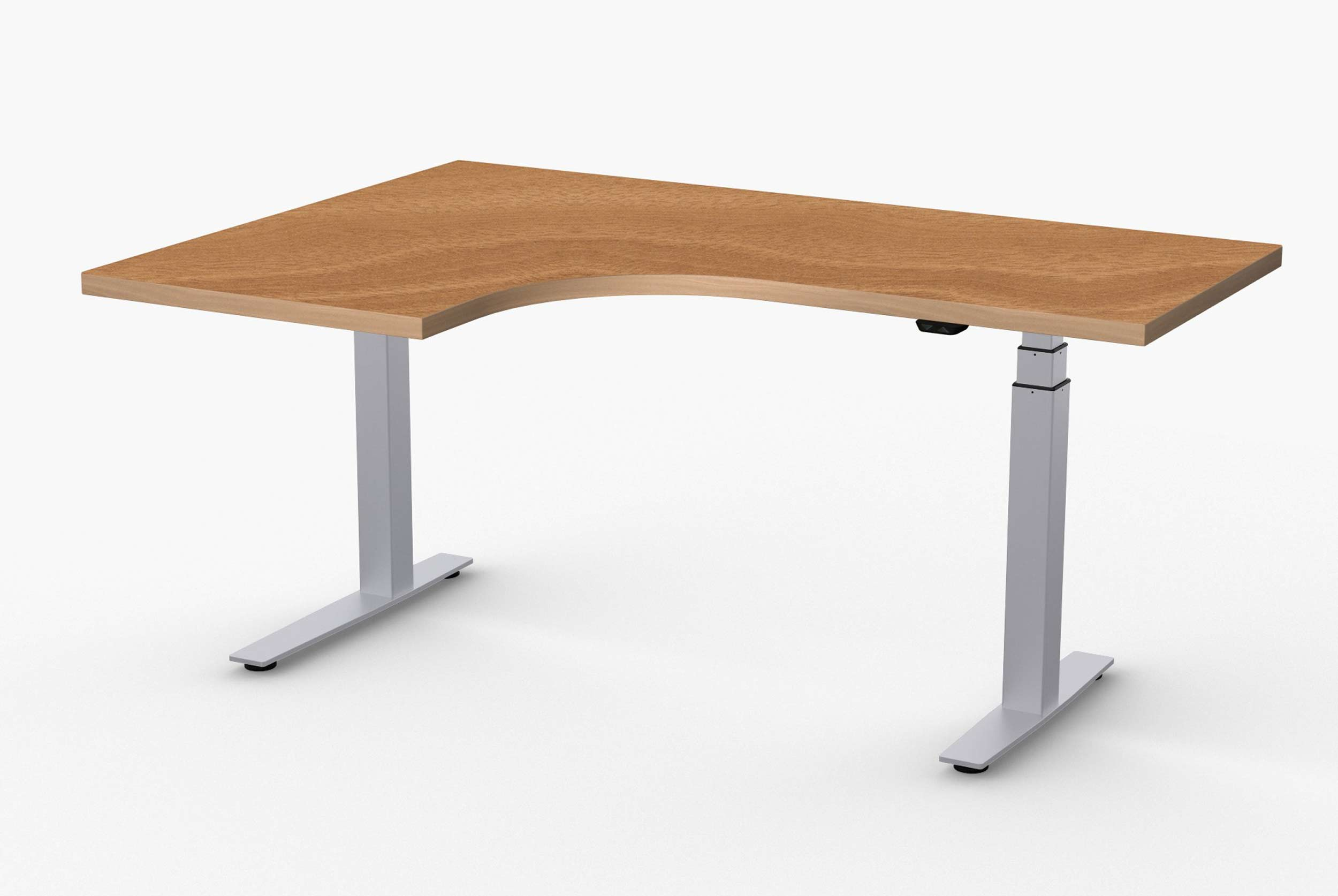 Adjustable Height Desks by Special T - Extended Corner Right. You can make additional workspace on either your right or left.
