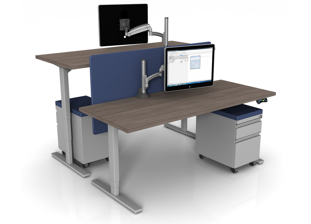 Sit and Stand Desk Bases from Symmetry Office - These standing height desk bases provide you with the flexibility to sit or stand during your workday with endless additions for customization and collaboration (worktop and accessories priced separately)