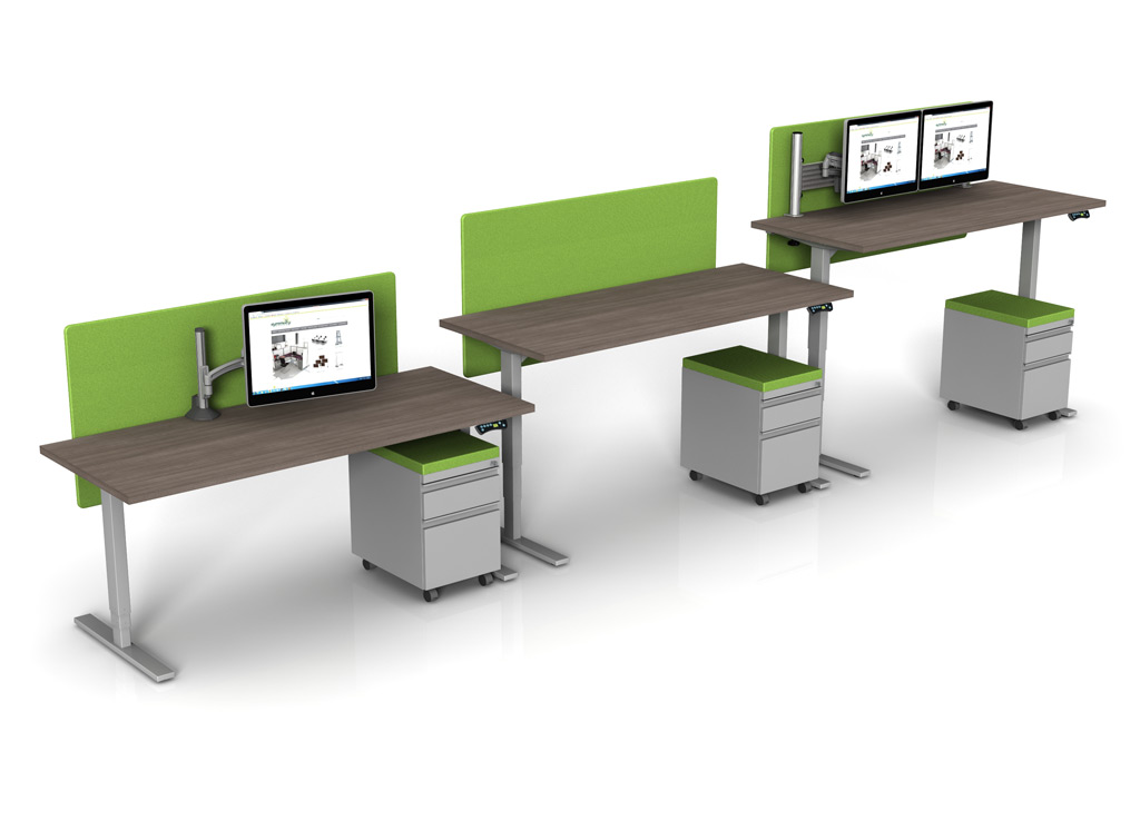 sit and stand desk bases from symmetry office add accessories to your standing height desks