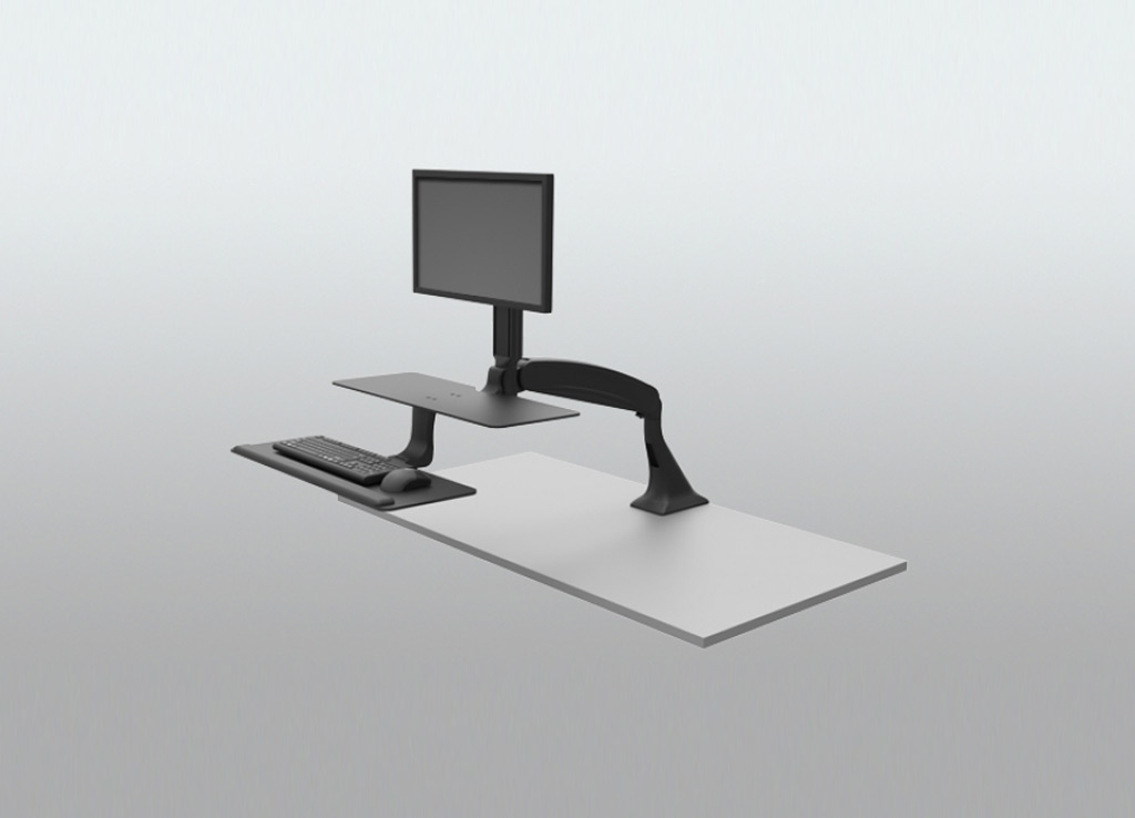 Stand Sit Desk Conversion Kit from ISE - Entire unit swings away leaving the desk surface fully accessible.