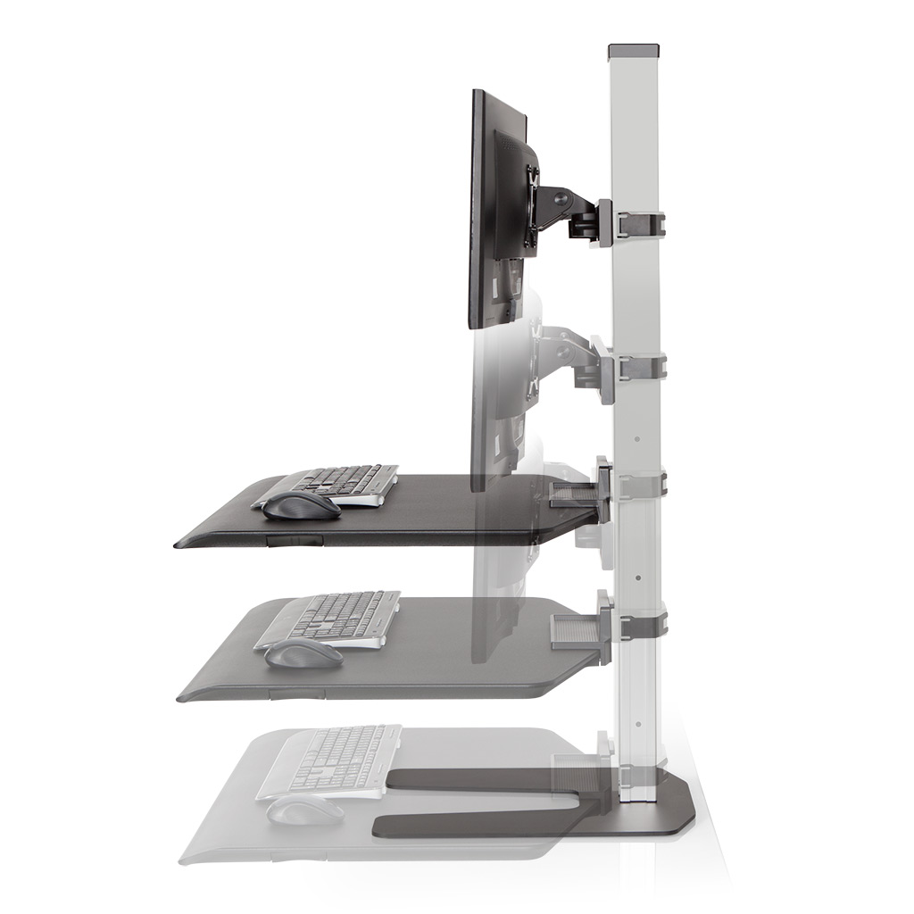 "Stand Sit Desk Conversion Kit from LCD Arms - Seamless height adjustment. Features a 17"" range of vertical height adjustment and a locking cylinder to keep the workstation in place. No manual adjustment needed."