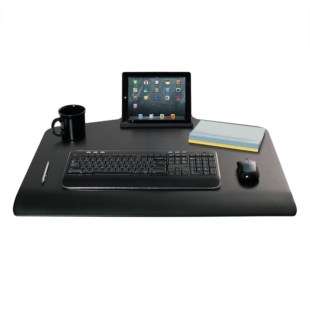 Stand Sit Desk Conversion Kit from LCD Arms - Expansive work space. Large surface and convenient storage tray allow you to bring all necessities with you when you stand.