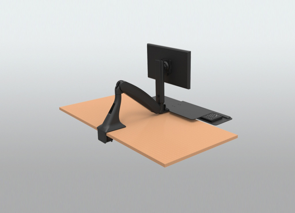 Stand Sit Desk Conversion Kit from ISE - Easily mounts to any workstation with rear-mounted clamp or grommet.