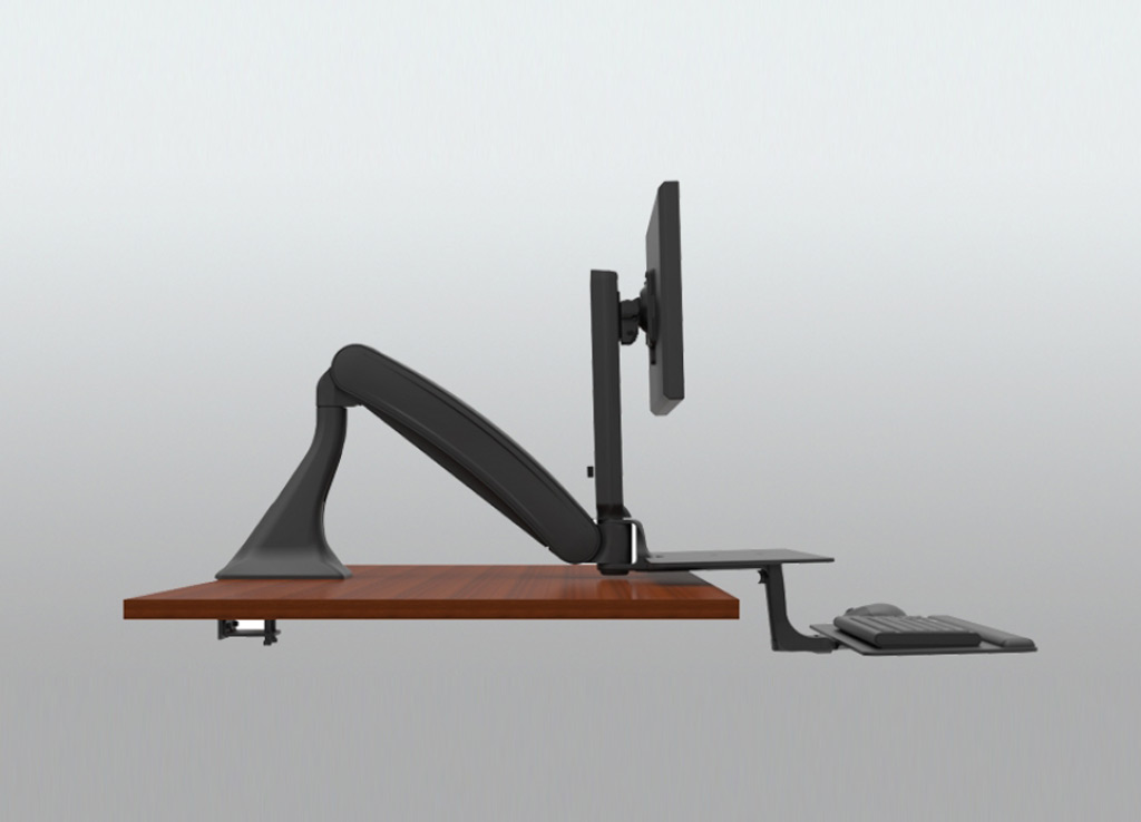 "Stand Sit Desk Conversion Kit from ISE - Independently adjustable keyboard tray and separate work tray. Keyboard platform has 3.3"" of height adjustment as well as focal depth adjustment and negative tilt."