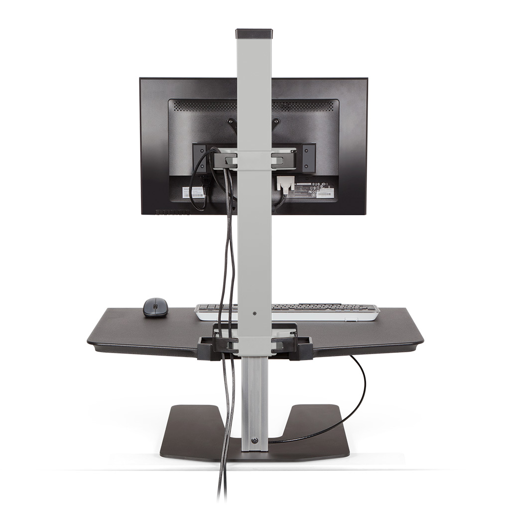Stand Sit Desk Conversion Kit from LCD Arms - Cable management. Cable clips in the column and beam keep the cables organized and out of the way.
