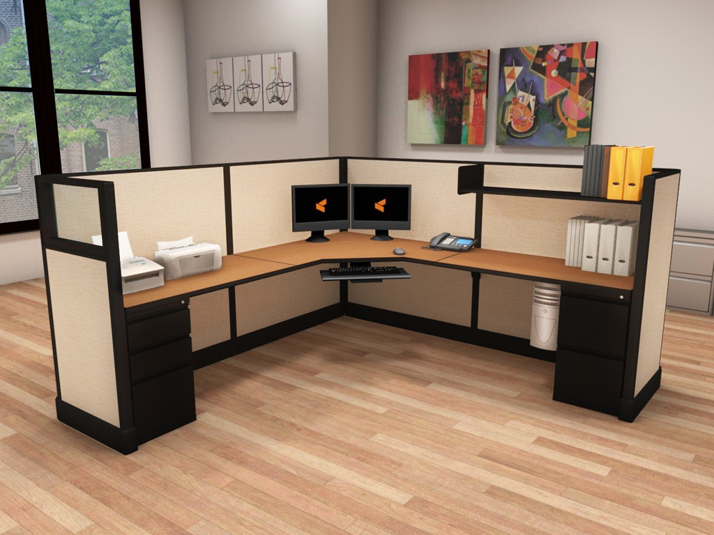 Large L Desks 6x8 and 8x8 - O2 Series Corporate Office Furniture