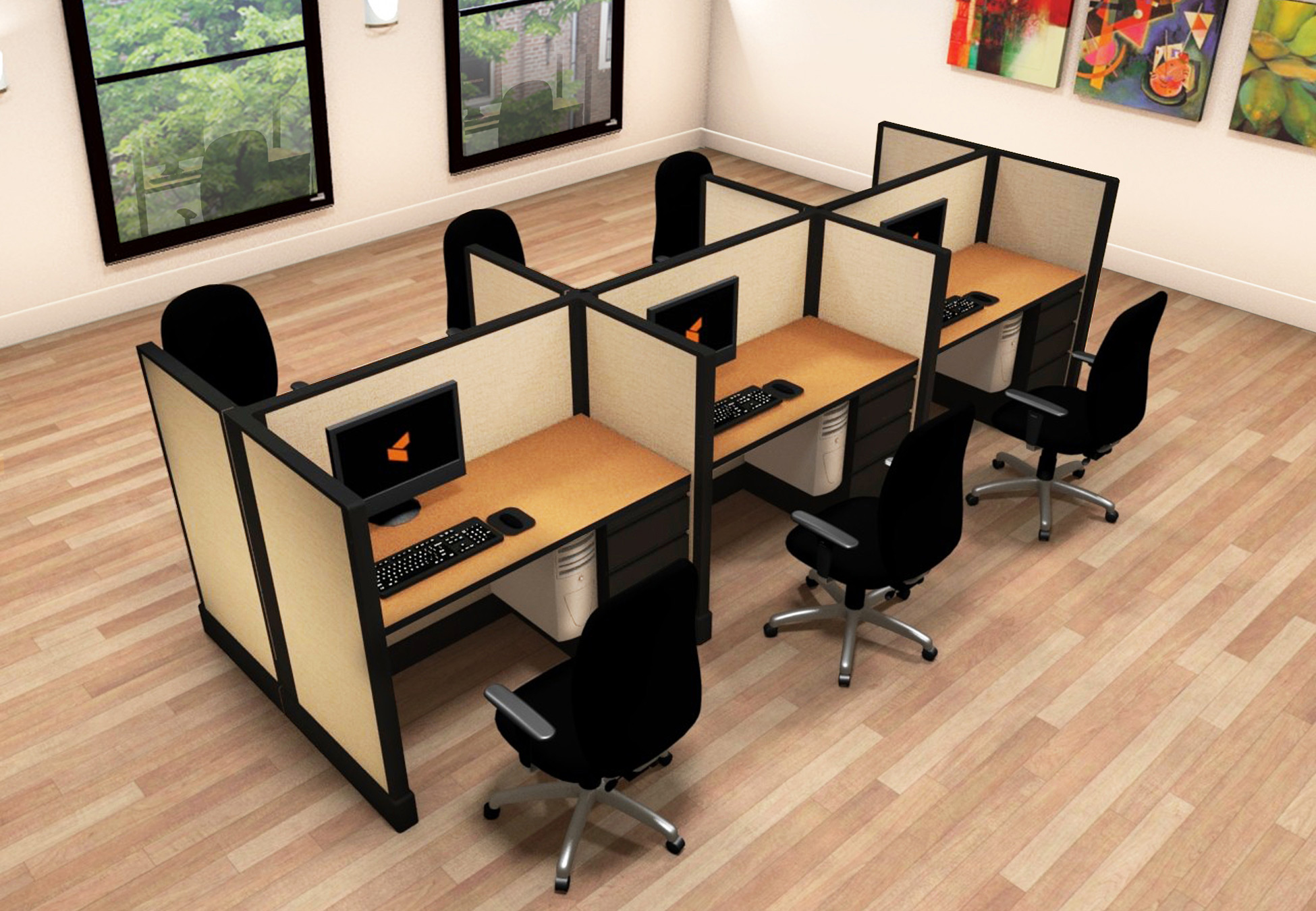 2x4 Small Office Furniture - 6 Pack Cluster