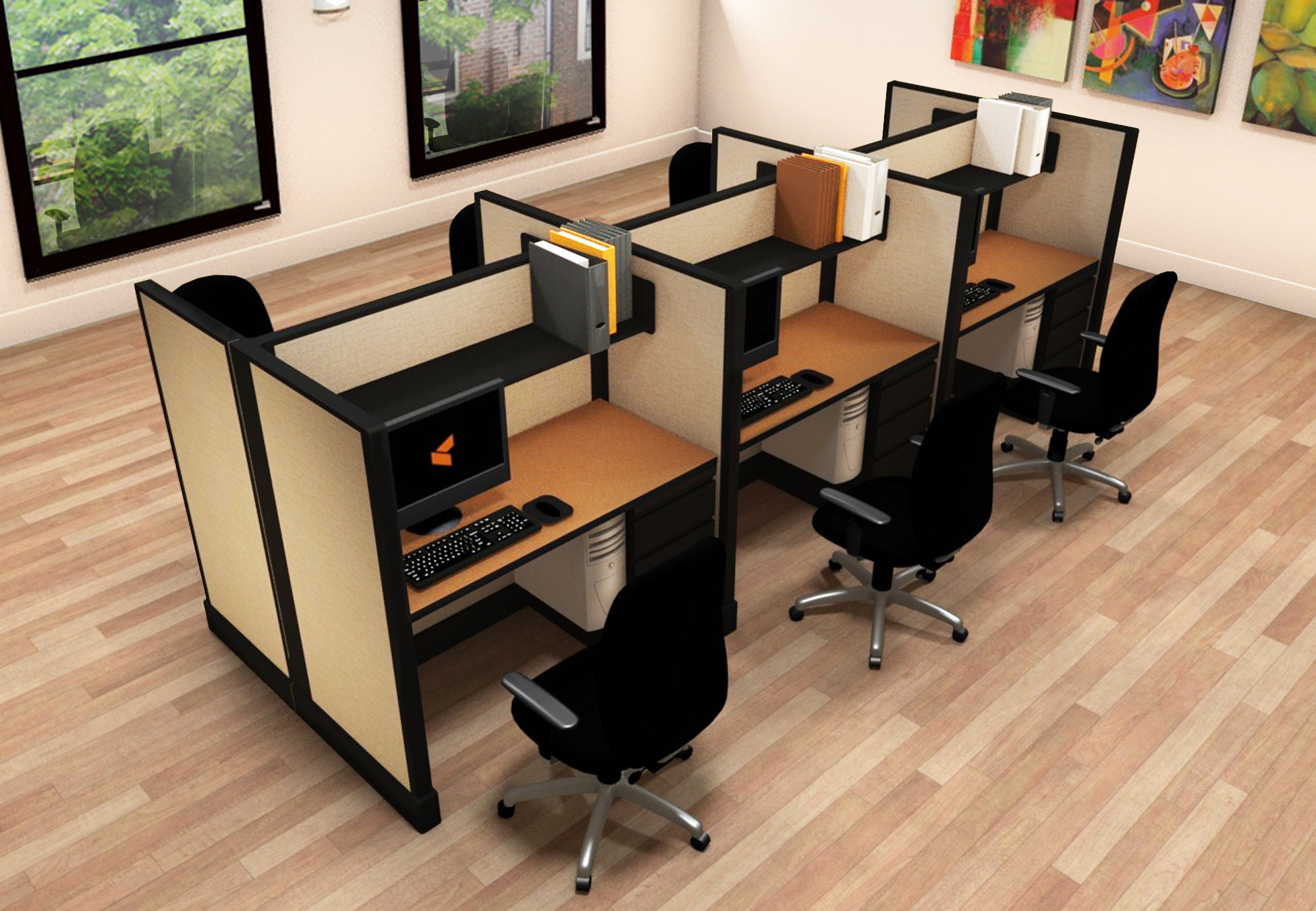 2x4 Small Office Cubicles - 6 Pack Cluster