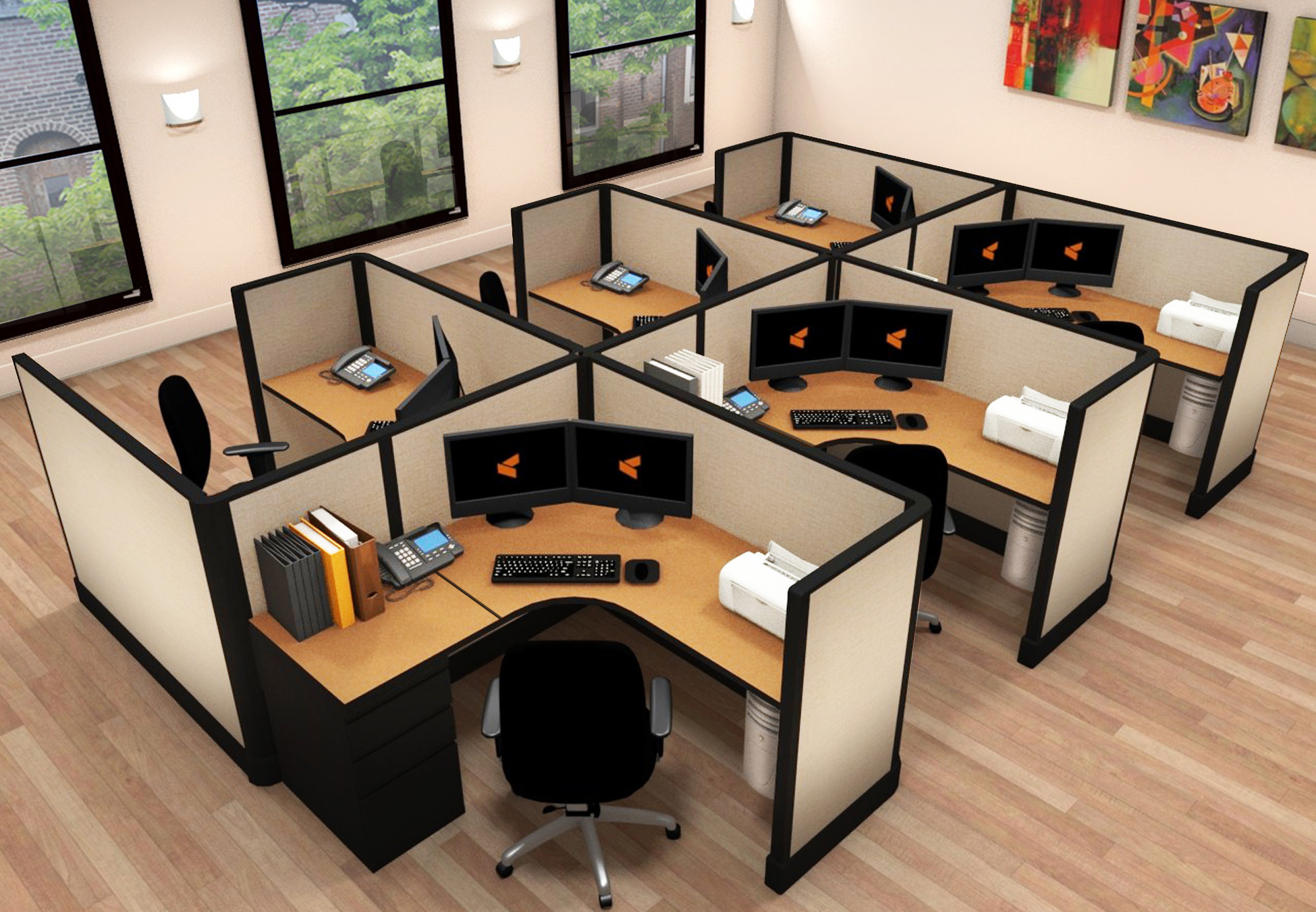 5x5 Office Cubicle Furniture - 6 Pack Cluster