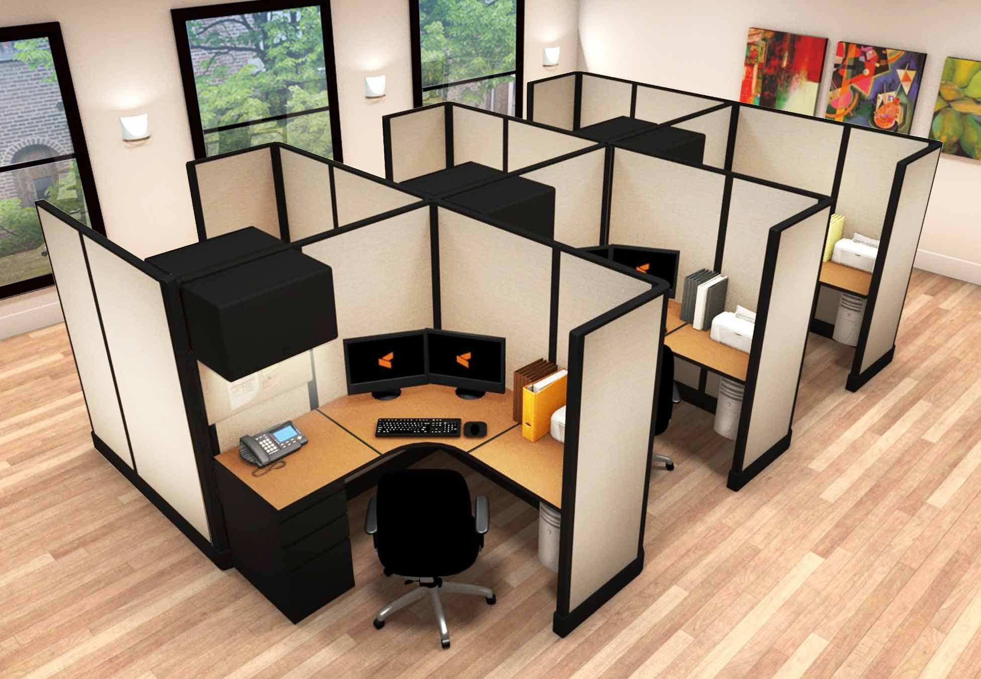 5x5 Workstation Furniture - 6 Pack Cluster