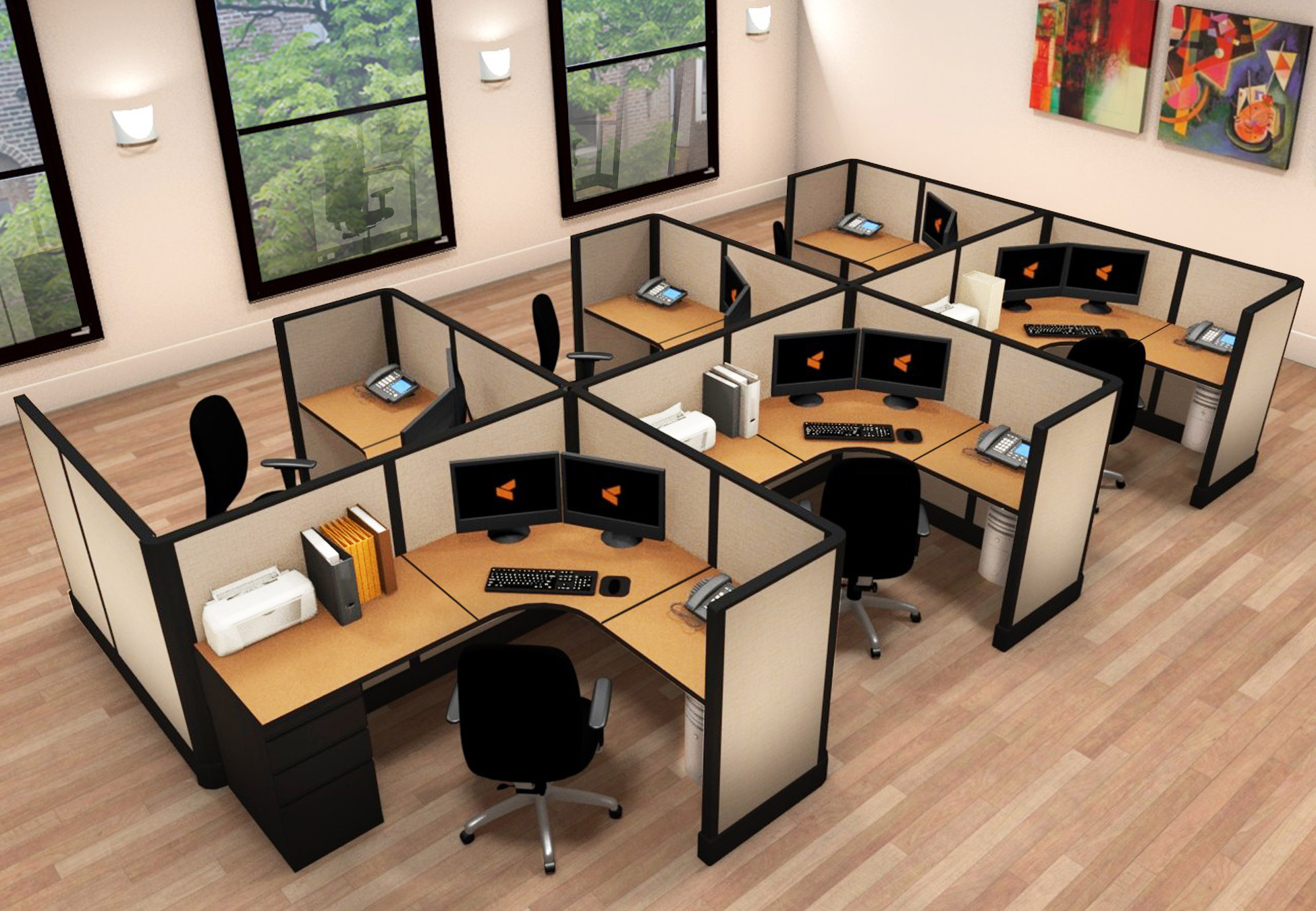 5x6 Office Furniture for Small Spaces - 6 Pack Cluster