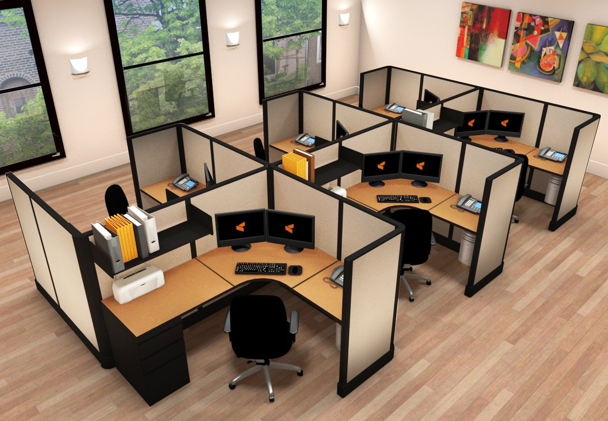 Corporate Office Furniture Cubicles 6x6 5x6x53