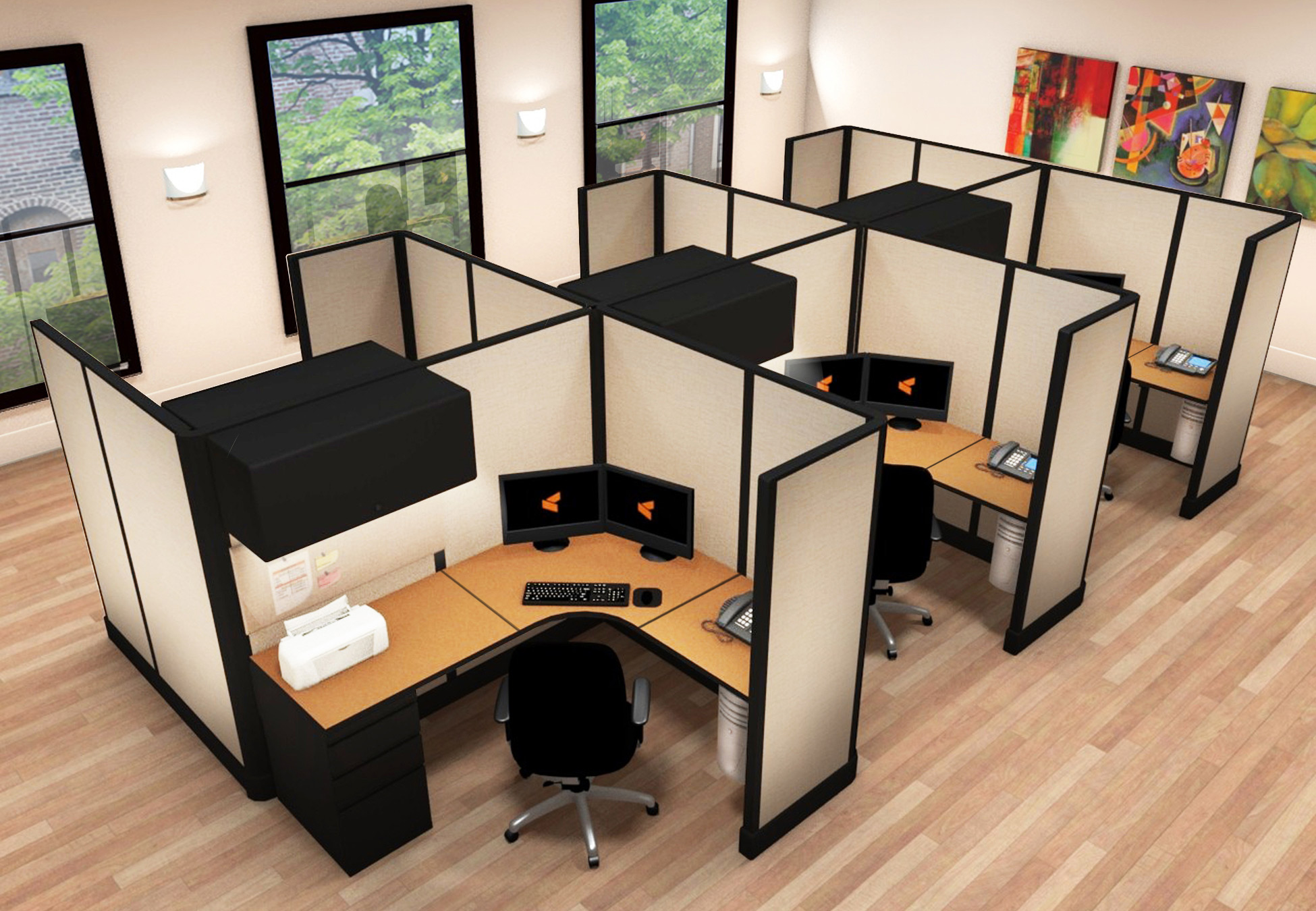 5x6 Professional Office Furniture - 6 Pack Cluster