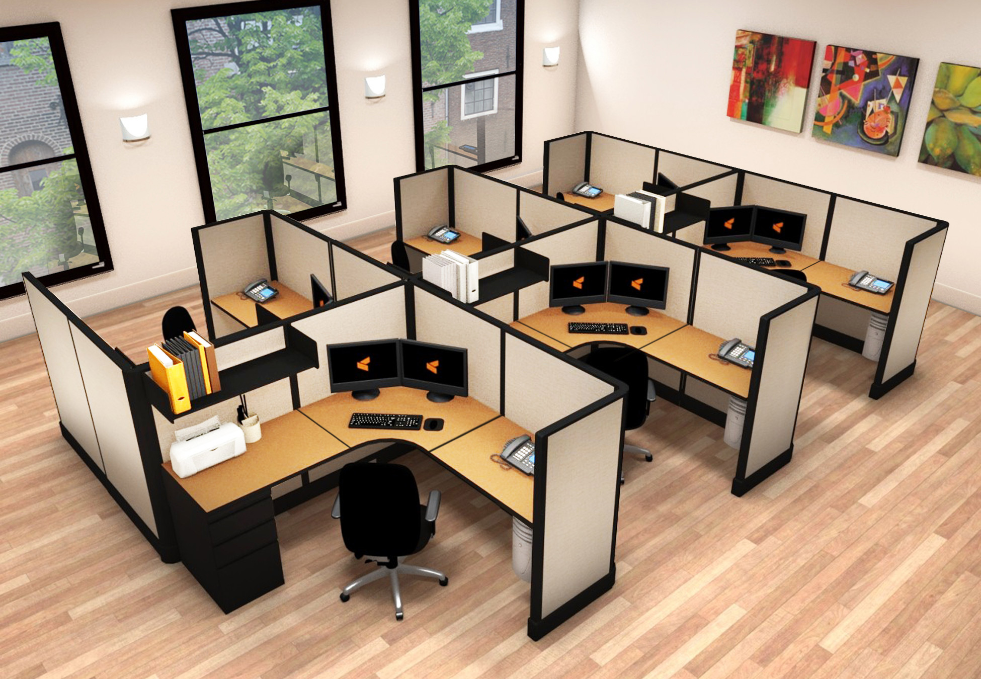 6x6 Average Cubicle Size - 6 Pack Cluster