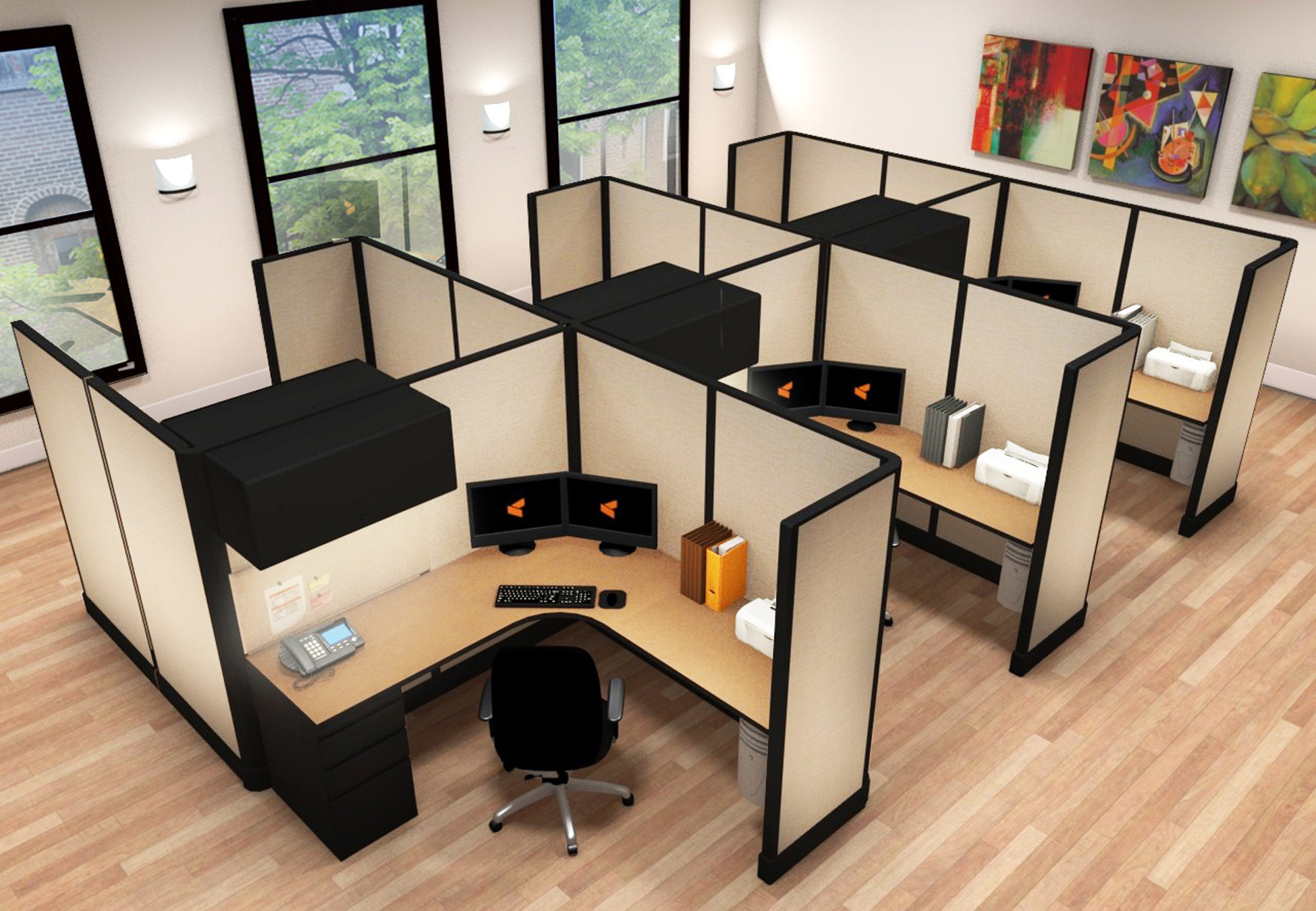 6x6 Commercial L Shaped Desk - 6 Pack Cluster