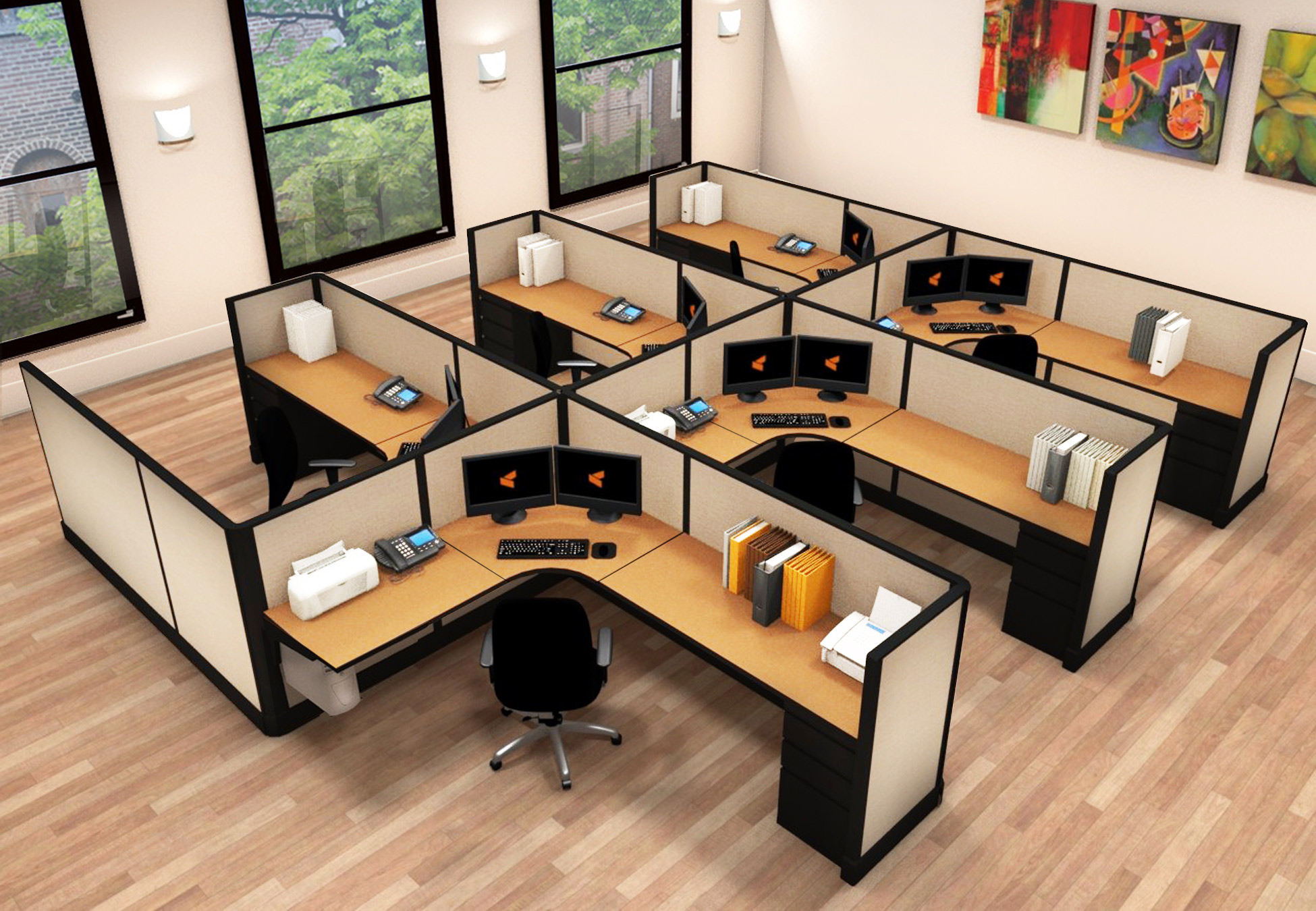 6x8 Commercial Business Furniture - 6 Pack Cluster