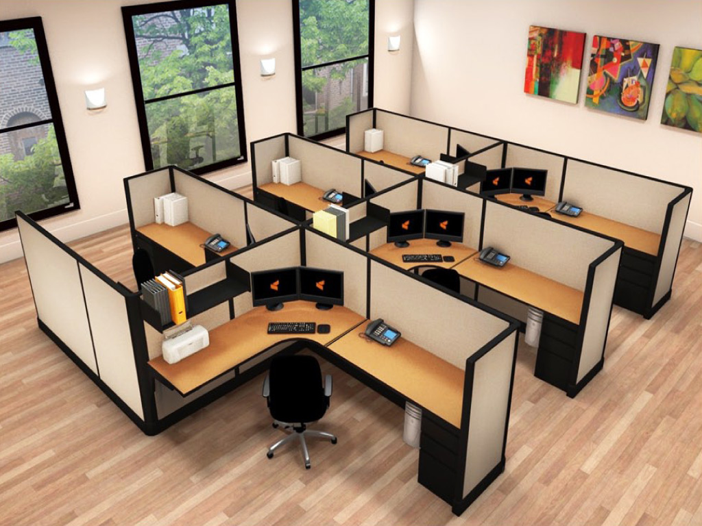 6x8 Cubicle Layout - 6 Pack Cluster