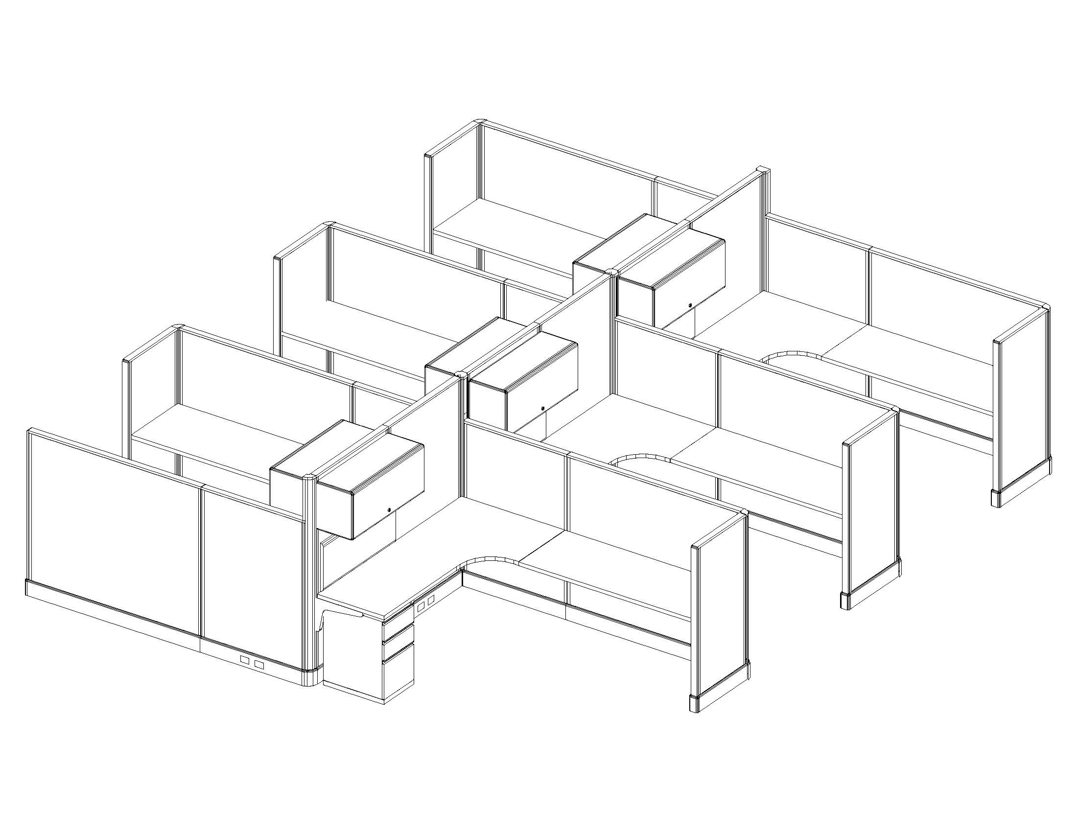 6x8 Business Cubicles - 6 Pack Cluster