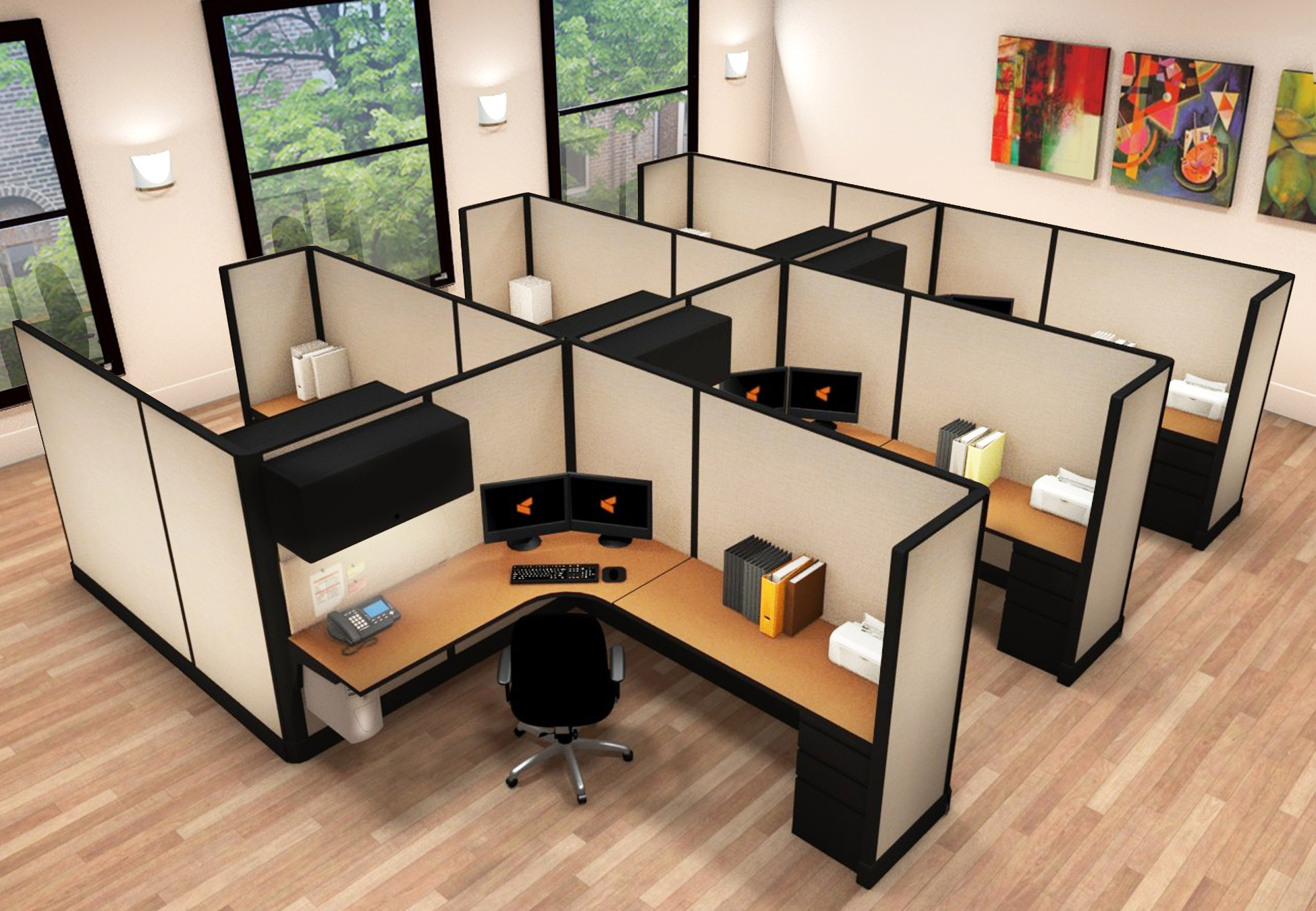 6x8 Commercial Workstations - 6 Pack Cluster