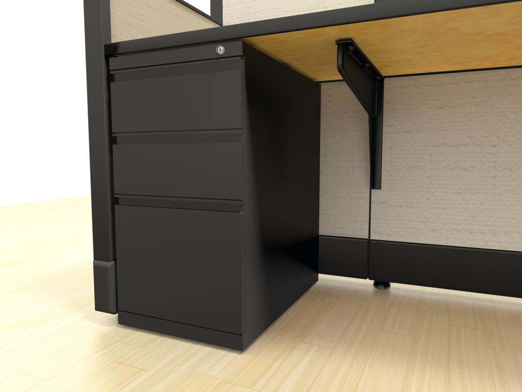 "Large L Desks 6x8 and 8x8 - a ""box-box-file"" pedestal is an under-surface storage solution that includes two small drawers (for papers, pencils, etc.) and one larger drawer for hanging files. Lock and key come standard."