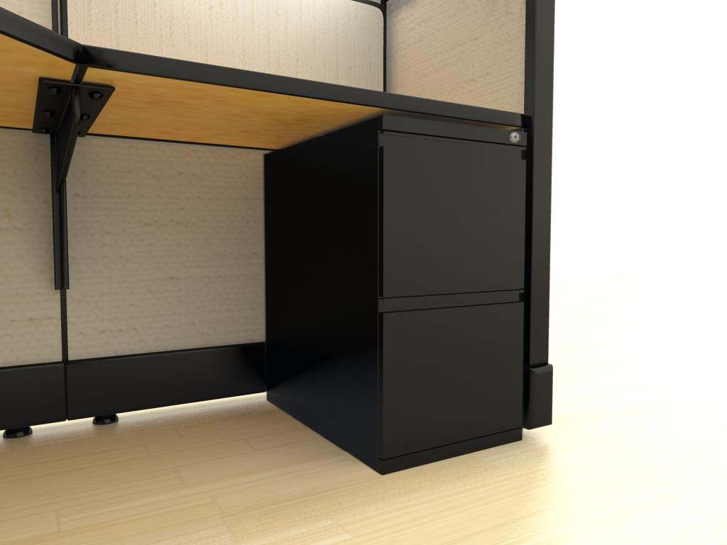 "Large L Desks 6x8 and 8x8 - a ""file-file"" pedestal is an under-surface storage cabinet with two deep drawers designed for hanging files. Lock and key secures all drawers from unwanted visitors."